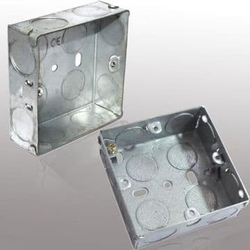 Metal Steel Galvanised 1 Gang 25/35 mm Deep Flush Knock Out Earthing Electricity Back Box