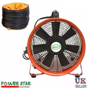 Portable Ventilation Fan Metal Axial Blower 110V with flexible PVC Duct