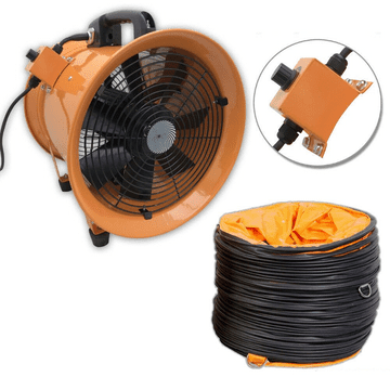 Portable Ventilator Axial Blower Workshop Extractor Fan  with 5 meter Air Duct Hose