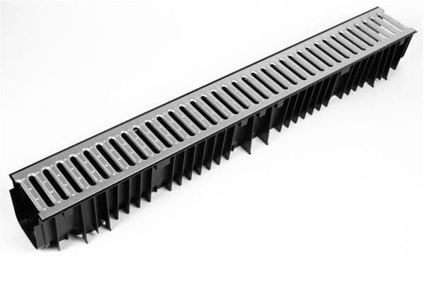 Clark Drain CD 425 Polypropylene Drainage Channel with Galvanised Steel Grate - 1m