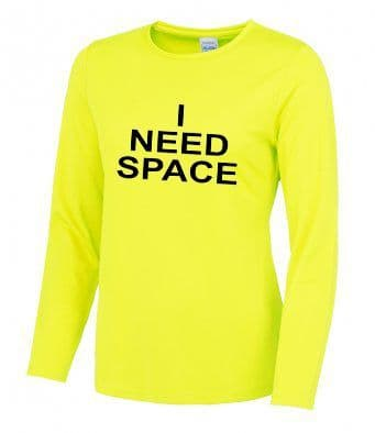 """I NEED SPACE"" long sleeve technical t-shirt"