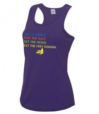"""Life is short"" technical running vest"