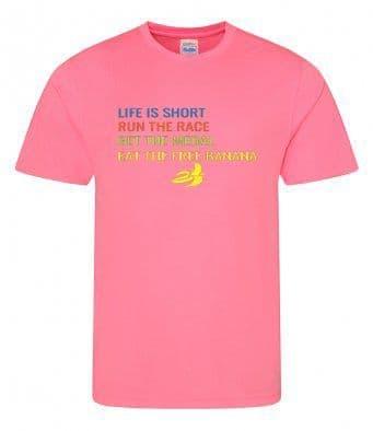 """Life is short"" Unisex or Women's Tech T-shirt"