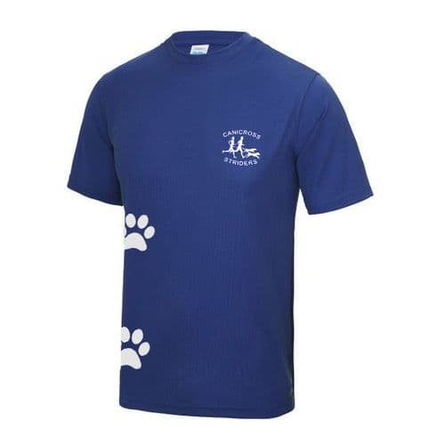 Canicross Striders tech t-shirt with Paw Prints