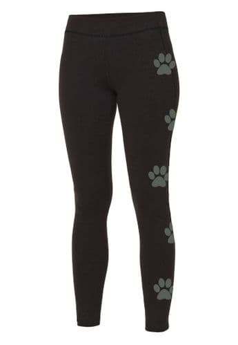 Pupmalup Womens Leggings with Reflective Paw Prints