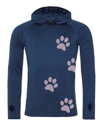 Reflective Paw Print Cowl Neck Top Layer