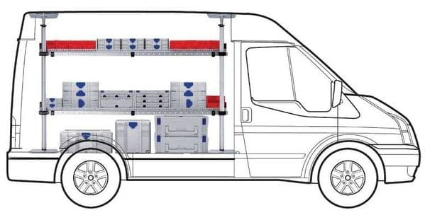 MAXI Two Shelf van racking kit