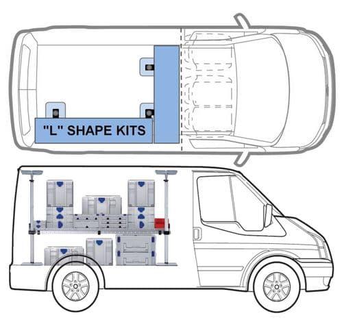 """MIDI """"L"""" KIT One Shelf van racking kit"""
