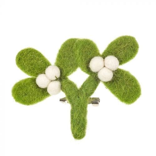 Felt Mistletoe Brooch