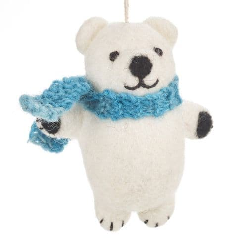 Polar Bear with blue scarf